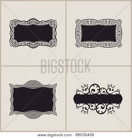 Label art frames elegant border set. Floral banner design ornament