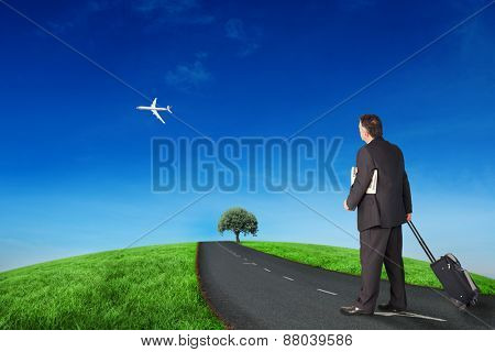 Mature businessman pulling his suitcase against road leading out to the horizon