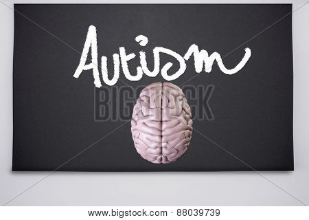 brain against black chalkboard