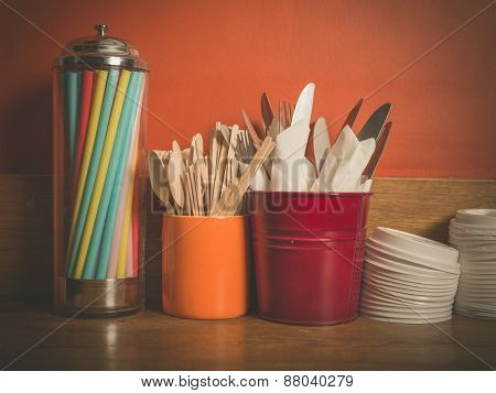 Cutlery Straws And Plastic Lids