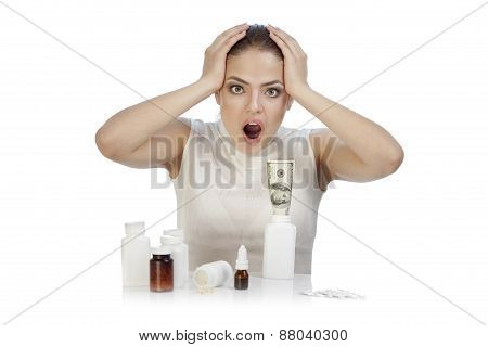 Young Beautiful Woman Scared By Medicines