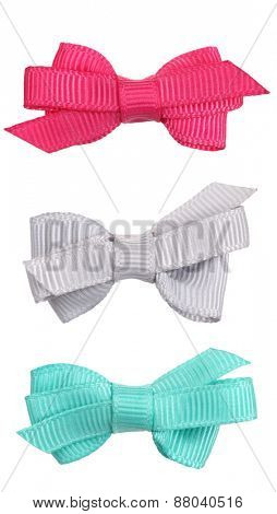 Three decorative ribbon bow ties pink gray turquoise blue