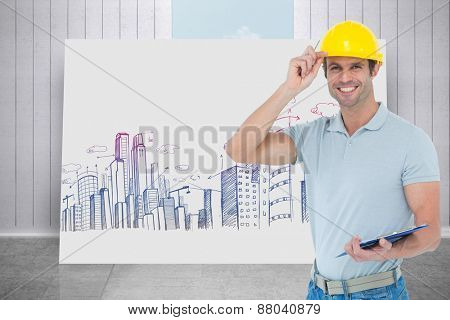 Architect wearing hard hat while holding clip board against composite image of white card