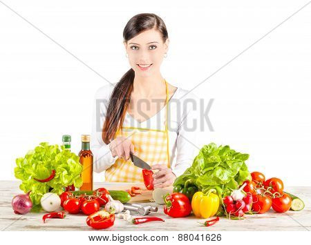 Young Woman Preparing Salad.