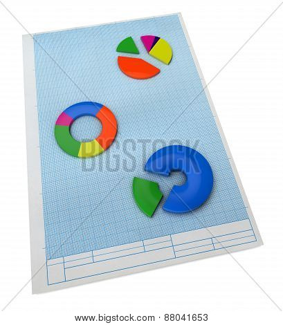 Business Concept. Three-dimensional Graph And Charts. 3D