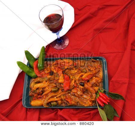 Pimiento frito y vino