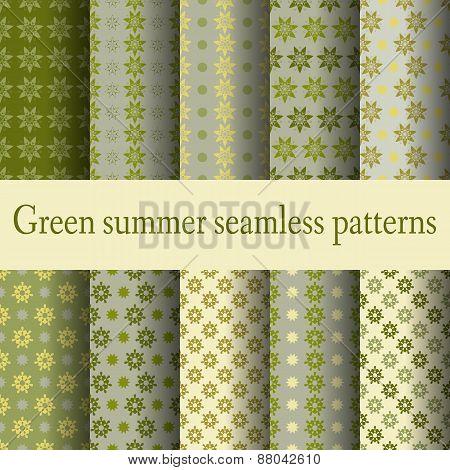 seamless patterns green summer palette