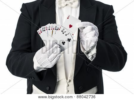 Magician trick with cards