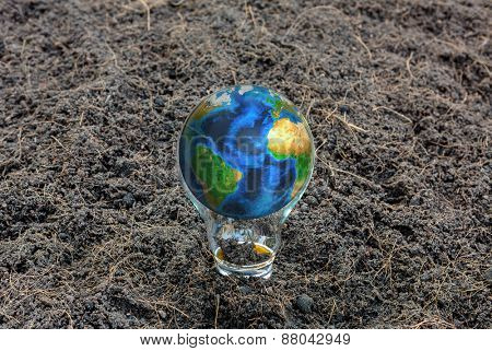 Earth in light bulb (Elements of this image furnished by NASA)