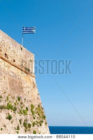 Greek Flag Waving  On  Rethymno  City Castle In Crete, Greece