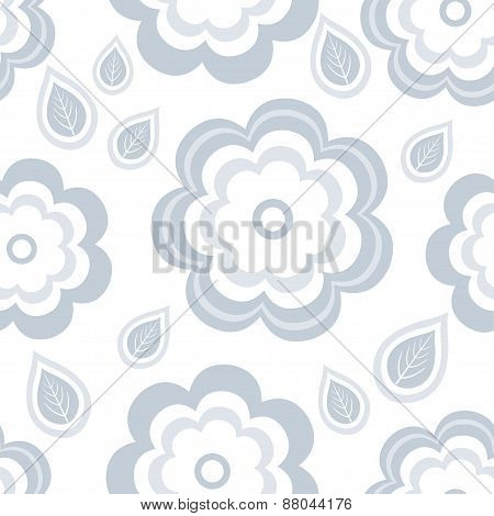 Seamless Pattern With Stylized Grey Flowers And Leaves