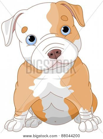 Illustration of cute Pitbull puppy