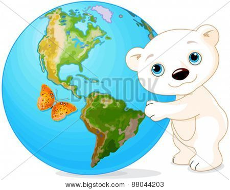 Polar Bear hugs the Earth at Earth Day
