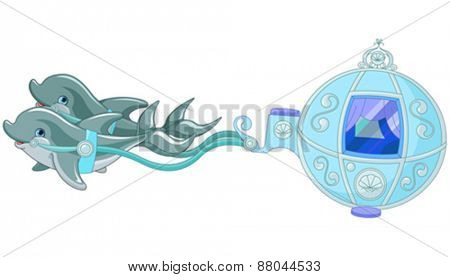 Illustration of fairytale dolphin carriage