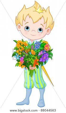 Illustration of Cute Little Prince Holds bouquet of flowers