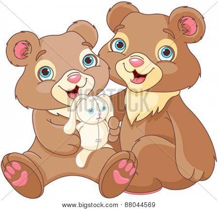 Illustration of a bear family