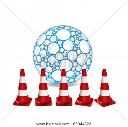 Traffic cones and sphere illustration