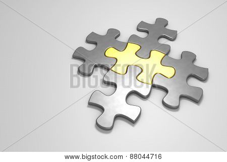 Metal Puzzle Pieces On A White Floor, One Piece In Gold