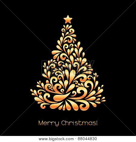 Abstract Christmas Tree In Gold Color.