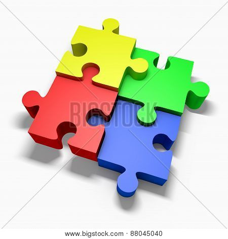 Colorful Jigsaw Puzzle Concept Sucess Pie Chart