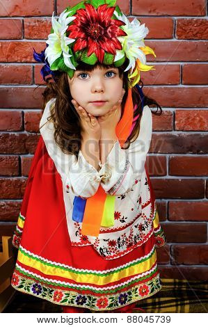 Surprised Girl In National Costume