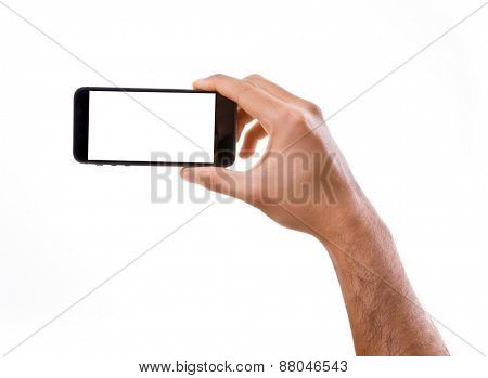 Hand holding Smartphone in horizontal on white background