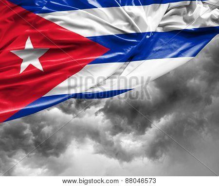 Cuban waving flag on a bad day