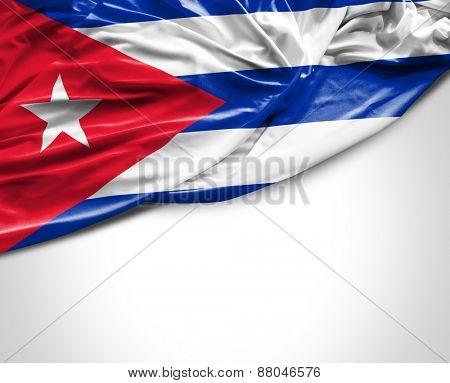 Cuban waving flag on white background