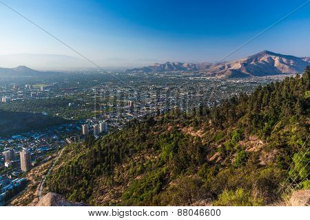 Aerial view of Santiago, Chile from Cerro Santa Lucia