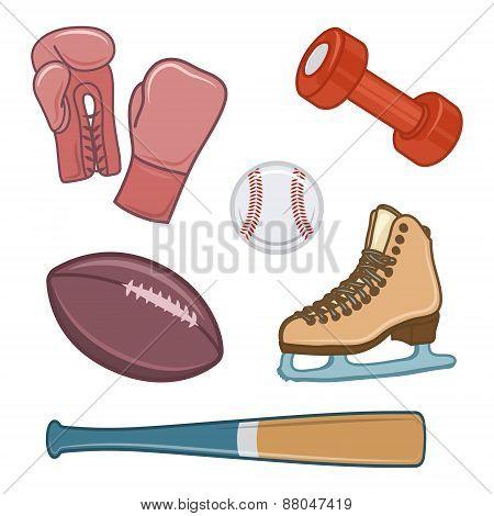 Vintage sport equipment. Hand drawn icons set