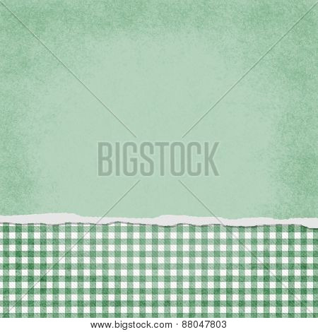 Square Green And White Gingham Torn Grunge Textured Background
