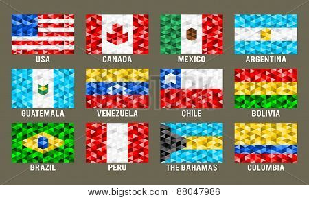 North and South America low poly flags