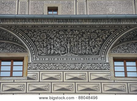 Facade Part Of Schwarzenberg Palace In Prague, Czech Republic.