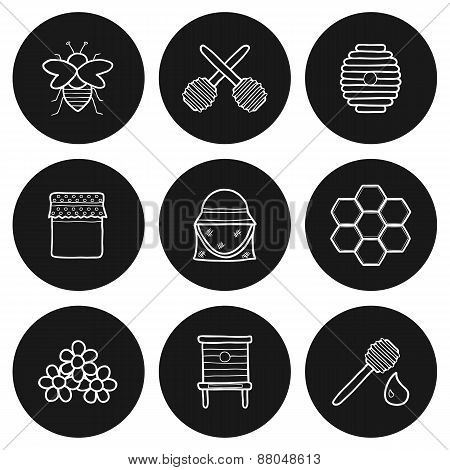 Set of hand drawn icons on beekeeping theme