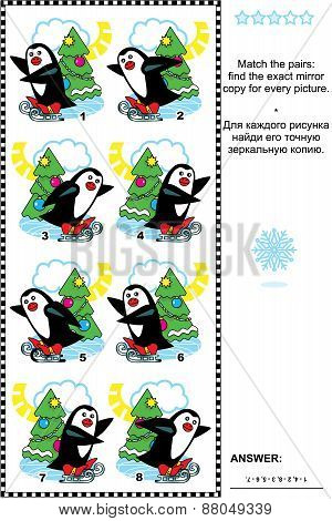 Picture puzzle - find the mirrored copy for every skating penguin image