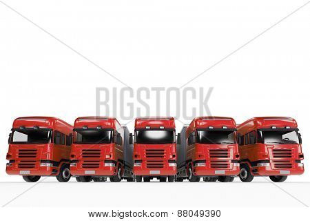 Red truck fleet of forwarding agency (3D Rendering)