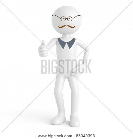 Hipster 3D guy with mustache and glasses holding thumbs up (3D Rendering)