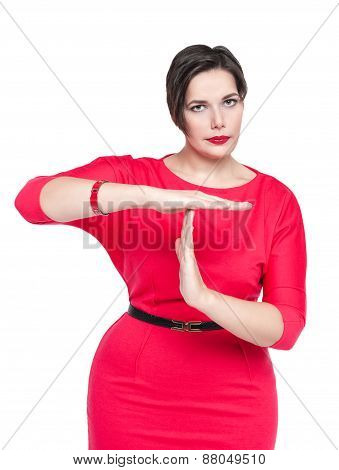 Beautiful Plus Size Woman In Red Dress Showing Time Out Gesture Isolated