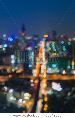 Abstract blur bokeh background of city intersection traffic lights