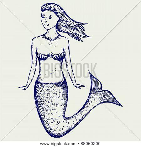 Illustration cute mermaid