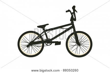BMX Bike. Black Silhouette on White Background. Isolated Vector Illustration