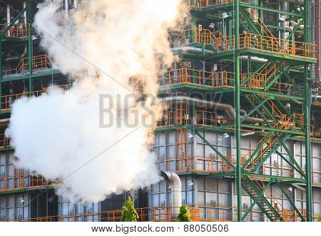 Smoke Of Pressure Flow Out From Gas Tube And Metal Steel Structure In Heavy Industry Estate Use For