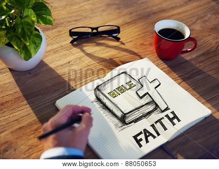 Man with a Note and Faith Concept