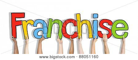 Diverse Hands Holding the Word Franchise