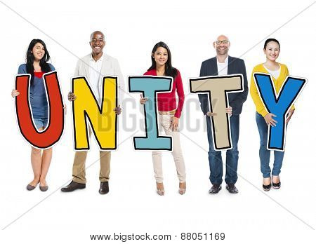 Diverse Group of People Holding Text Unity