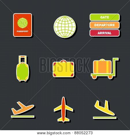 Set of cute colorful airport stickers