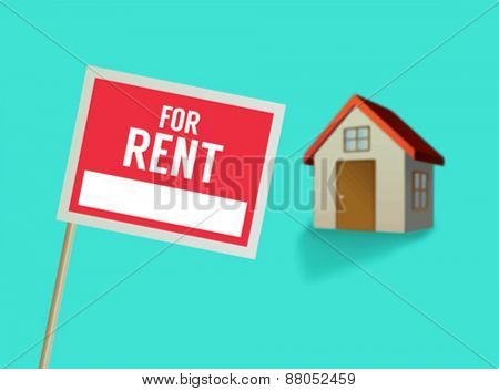 Digitally generated For rent sign and house vector