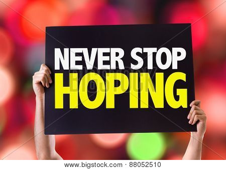 Never Stop Hoping card with bokeh background