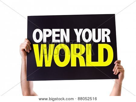 Open Your World card isolated on white