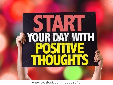 Start Your Day with Positive Thoughts card with bokeh background